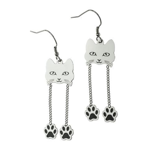 Cat Face Dangling Paws Fish Hook Earrings