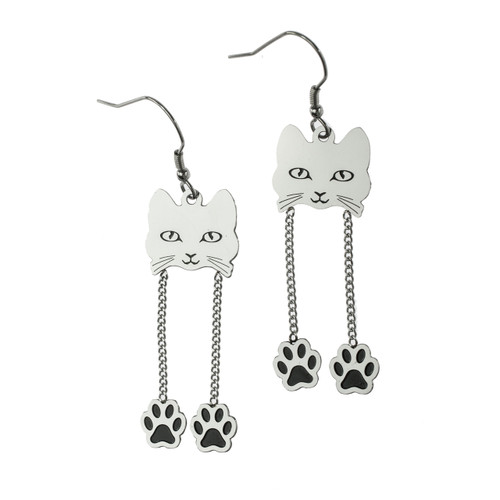 Cat Face Dangling Paws Fish Hook Earrings