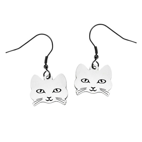 Cat Face Fish Hook Earrings