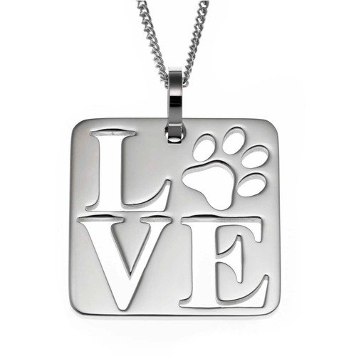Pet Love Square Pendant Necklace