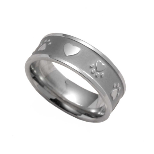 Paw Print Heart Sandblasted Ring Rings 28 Joyful Sentiments