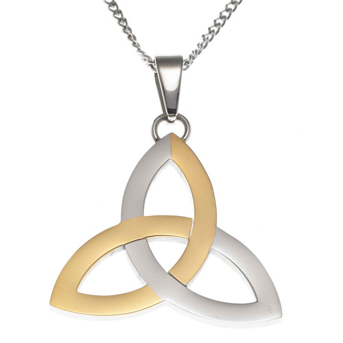 Two Tone Trinity Knot Pendant Necklace