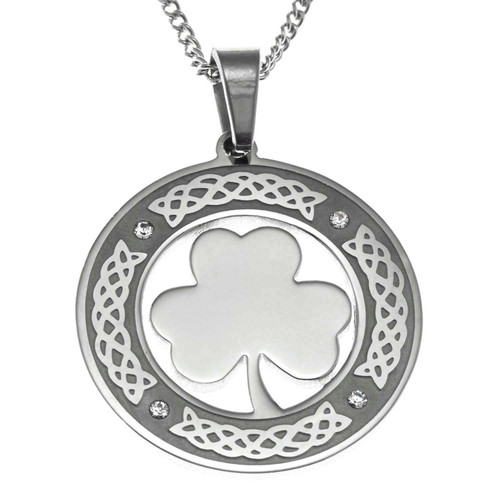 Round Shamrock Pendant Necklace