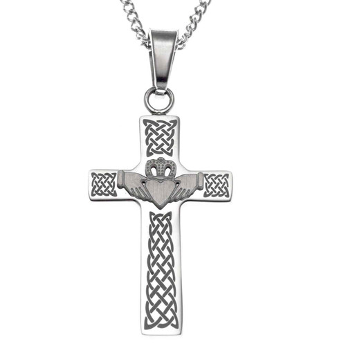 Claddagh Cross Pendant Necklace