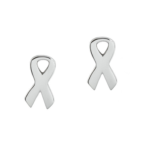 Silver-Cancer-Ribbon-Earrings