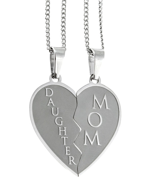 Mom and  Daughter Heart Pendant Necklace
