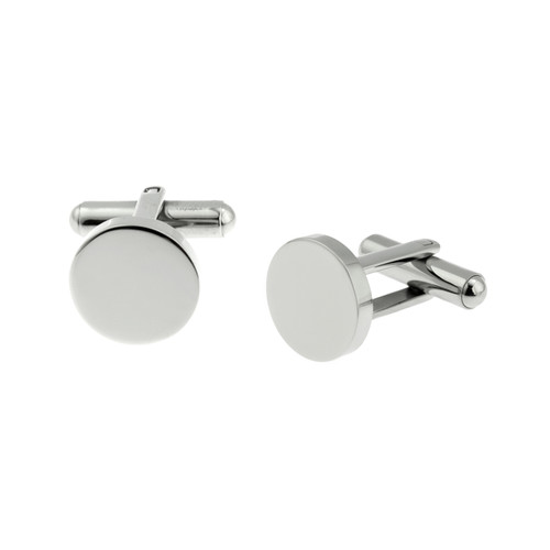 Blank Round Stainless Steel Cuff Links - 13 mm
