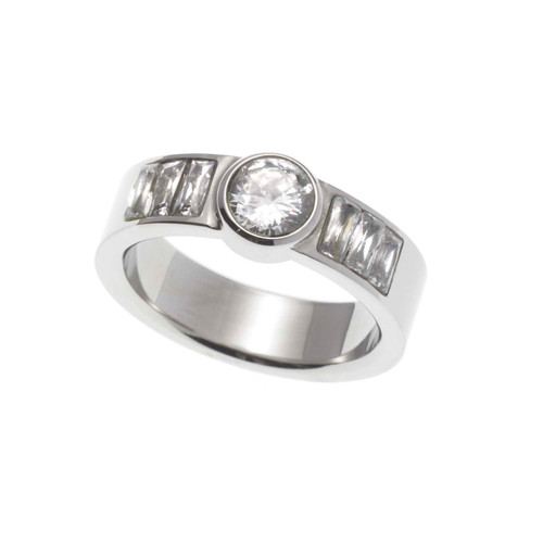 Round and Baguette Cut Cubic Zirconia Stainless Steel Engagement Ring