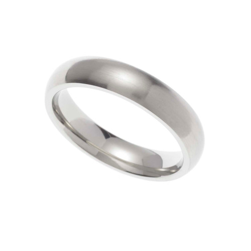 5MM Satin Finish Stainless Steel Dome Wedding Band