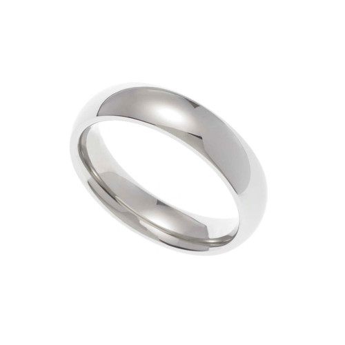 5MM Polished Stainless Steel Dome Wedding Band