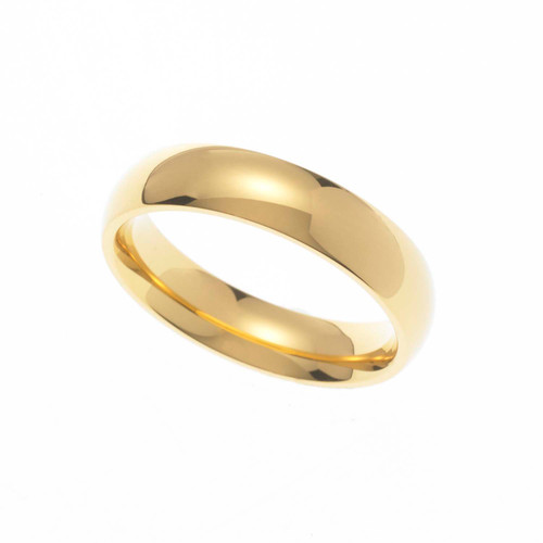 5MM Polished Gold Ion Plated Stainless Steel Dome Wedding Band