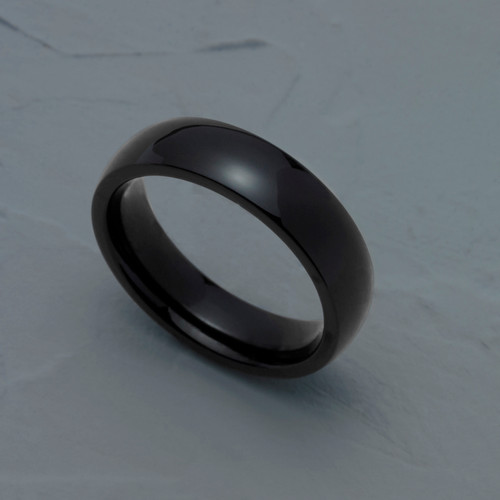 5MM Polished Black Ion Plated Stainless Steel Dome Wedding Band