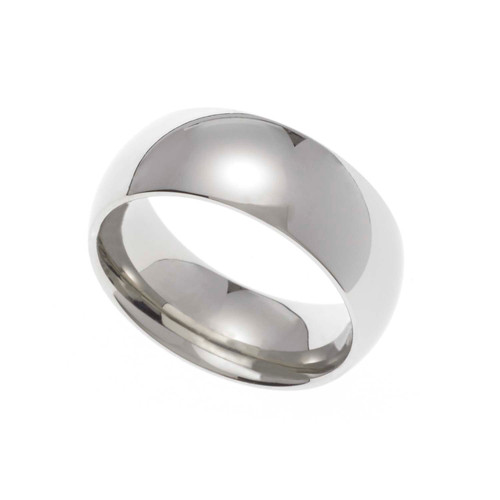 7MM Polished Stainless Steel Dome Wedding Band