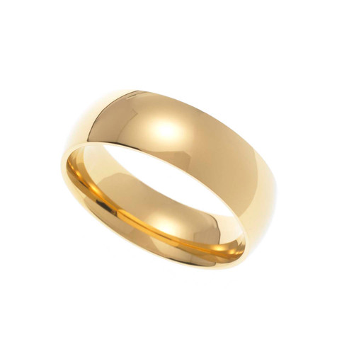 7MM Polished Gold Ion Plated Stainless Steel Dome Wedding Band