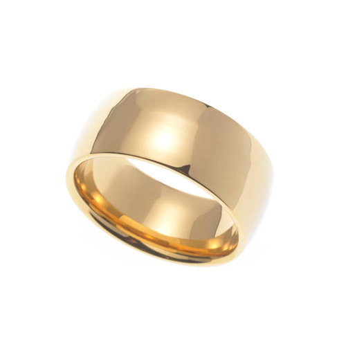 9MM Polished Gold Ion Plated Stainless Steel Dome Wedding Band