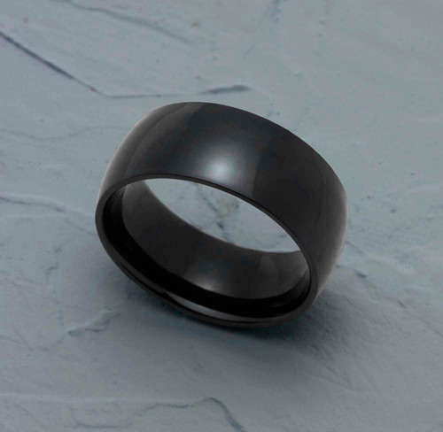 9MM Polished Black Ion Plated Stainless Steel Dome Wedding Band