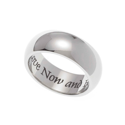 "7MM Polished Stainless Steel ""Love Now and Forever"" Dome Wedding Band"