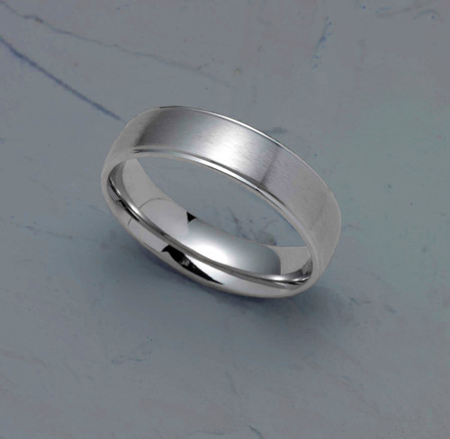 6MM Satin Finish Stainless Steel Dome Wedding Band With Polished Step Edge