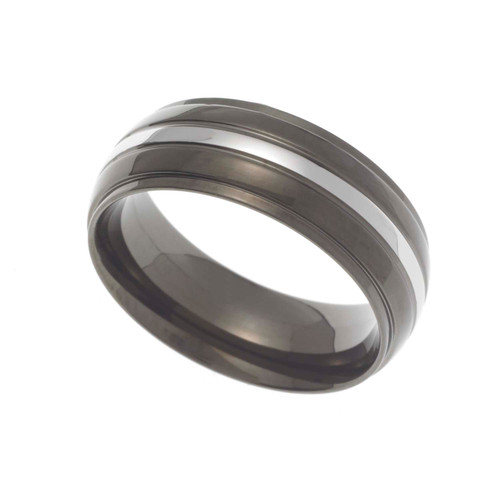 8MM Polished Black Ion Plated Stainless Steel Dome Wedding Band With Silver Tone Inlay
