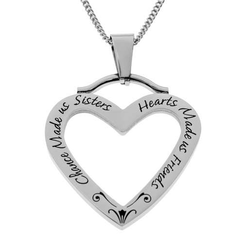 Open Heart Sister Pendant Necklace