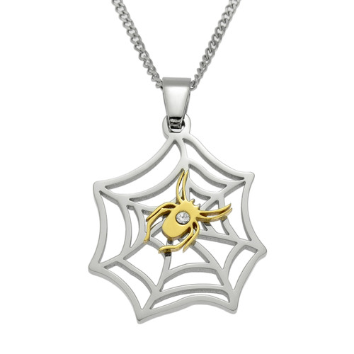 Two Tone Spider Web Pendant Necklace