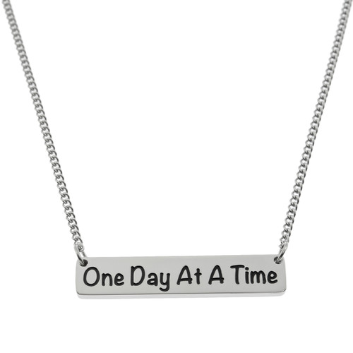 One Day At A Time Bar Pendant Necklace