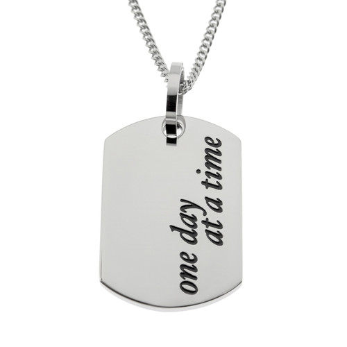 One Day At A Time Dog Tag Pendant Necklace