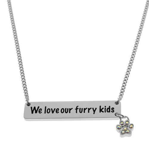 We Love Our Furry Kids Bar Pendant Necklace