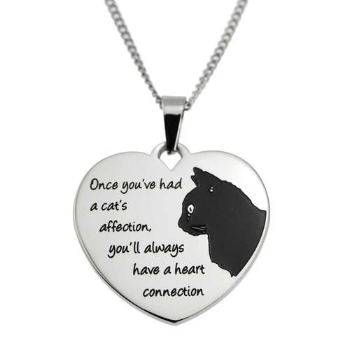 Cat Connection Heart Pendant Necklace Pendants 25 Joyful Sentiments