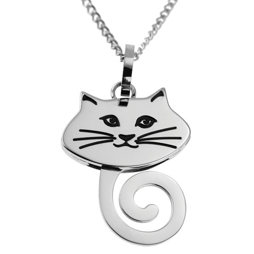 Wagging Tail Cat Face Pendant Necklace