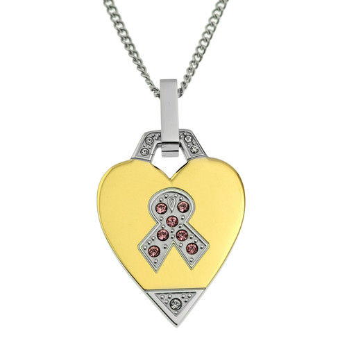 Gold Heart Awareness Ribbon Two Tone Pendant Necklace
