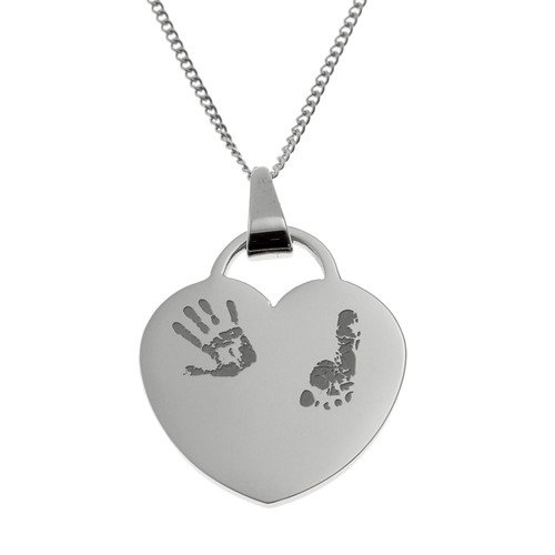 Hand and Foot Print Heart Pendant Necklace