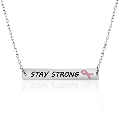 Stay Strong Bar Pendant Necklace