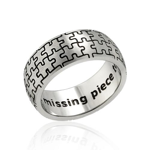 autism awareness puzzle ring