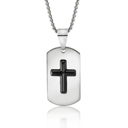 cross necklace-cross jewelry-religious jewelry-dog tag cross pendant