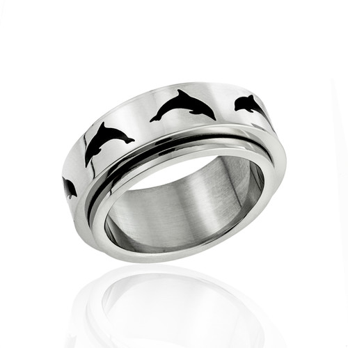 dolphin peace ring-spinner ring