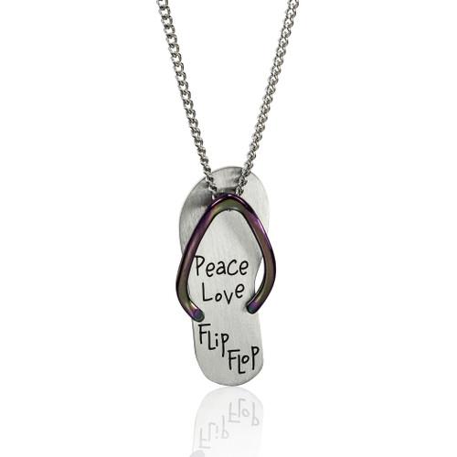 Peace Love Flip Flop Pendant Necklace