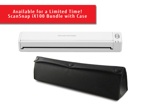 SCANSNAP iX100 MOBILE SCANNER FOR PC AND MAC (WHITE) WITH CARRYING CASE