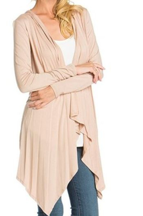 Hooded Cardi Taupe