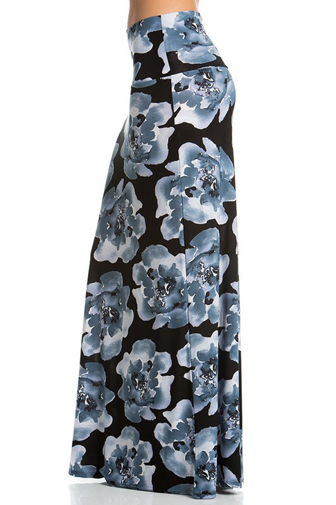 Dust Silver Floral Maxi Skirt