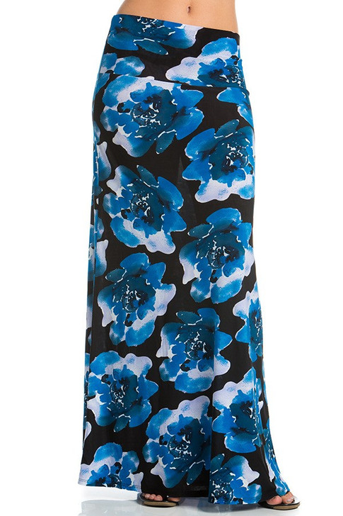 Blue Black Floral Maxi Skirt