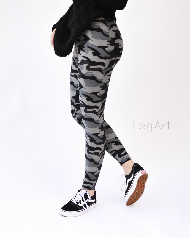 Stand out in these black and shades of grey camo print leggings. In our super soft, unbelievably comfortable fabric. These would pair well with most of our tops and tunics.
