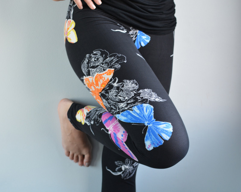Bright pops of colour from beautiful butterflies on a black backdrop. These leggings have it allÌÎ_ÌÎ_ - style, comfort and fit. We love these for Spring!