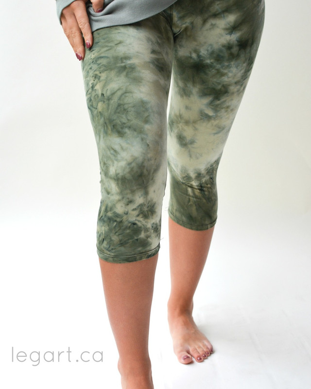 Tye Dye Green/Grey Capri Leggings