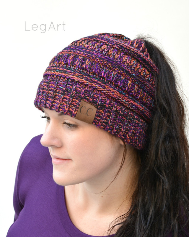 Messy Bun Beanie Dark Purple Confetti