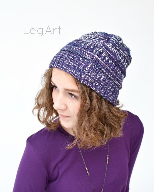 Messy Bun Beanie Dark Purple