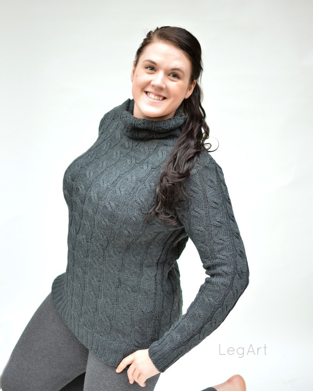 Cable -Knit Sweater Charcoal