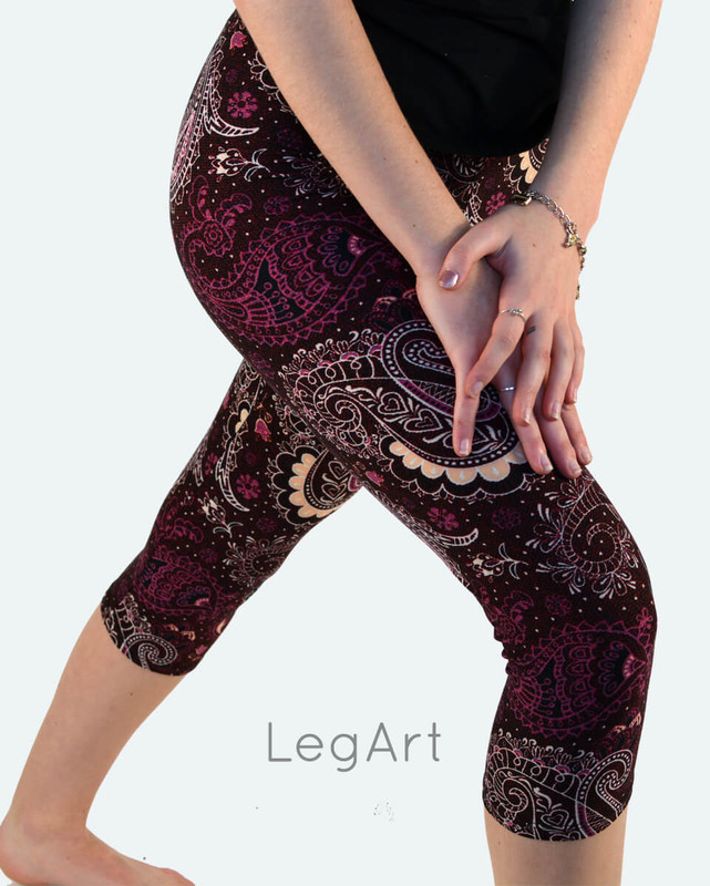 Bastille Capri Leggings: Paisley pattern in beige, wine, and black on a dark wine background.