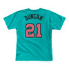 an Antonio Spurs Men's Mitchell And Ness Tim Duncan Name and Number T-shirt - Teal