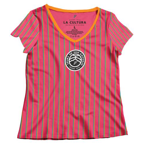 San Antonio Spurs La Cultura Collection Women's V-Neck Striped T-Shirt
